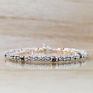 Rose Gold Double Row Beaded Toggle Bracelet